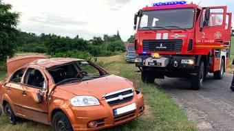 У Новосанжарському районі автомобіль «Шевроле Авео» злетів з дороги і перекинувся