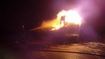У Кобеляцькому районі згоріла вантажівка з матрацами