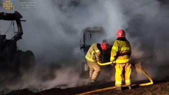 На Карлівщині згоріла сільськогосподарська техніка