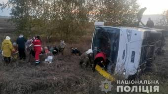 На Лубенщині перекинувся автобус з пасажирами